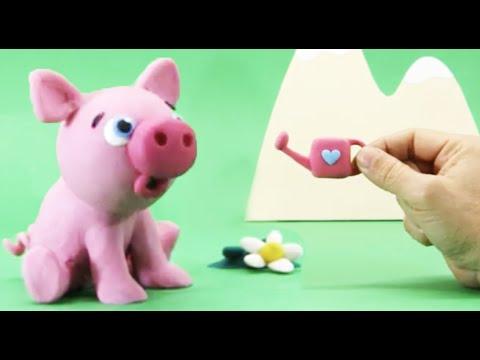 ESSE PORQUINHO ADORA O CHEIRO DAS FLORES - Desenhos animados Stop Motion Babyclay em PORTUGUÊS