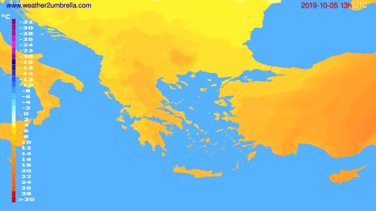 Temperature forecast Greece // modelrun: 12h UTC 2019-10-03