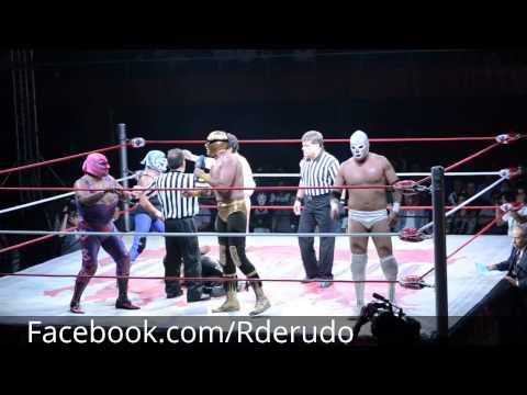 Rderudo Solitario Jr reta a Villano IV por las máscaras