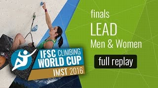 (LIVE) IFSC Climbing World Cup Imst 2016 - Lead - Finals - Men/Women by International Federation of Sport Climbing