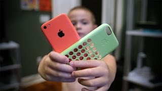 I gave my 5 yr old son my wife's old Apple iPhone 5c and he started making videos right away! The case he is talking about is the official Apple case for the...