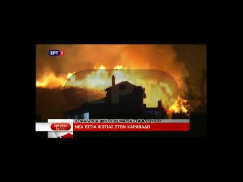 Video - Νέα φωτιά στην Κεφαλονιά, έξω από το χωριό Καραβάδος