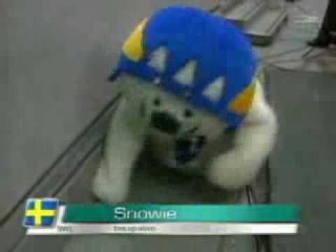 Ice hockey ball buster mascot