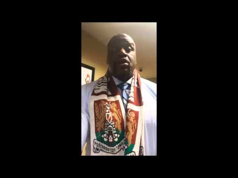 """Shaquille O'Neal sings """"We are Champions"""" in recognition of his favourite team winning League 2, Northampton town"""
