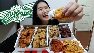 """Eating four flavors of boneless chicken wings from Wingstop!What I ordered:- Mango Habanero- Garlic Parmesan- Lemon Pepper- Hickory Smoked BBQ- Cajun Fries- Sweet Potato Fries- Ranch Sauce- Honey Mustard SauceSupport my channel on Patreonhttps://www.patreon.com/peggieneoFollow me on Facebookhttps://www.facebook.com/peggieeatsChicken Mukbang Shows:Jollibee Fried Chicken https://youtu.be/vNjgW-sOo3EKFC Fried Chicken https://youtu.be/UXaAIj8UDyAPopeyes Chicken https://youtu.be/RyjfP94pAAIFood Challenge Videos:Massive English Breakfast in UK https://youtu.be/3m62-_VtzzEPho Noodle Challenge in UK https://youtu.be/7DOPI6tSy3M4 Footlong Subway Challenge https://youtu.be/cDPHO3l6nyQ2KG Burrito Challenge https://youtu.be/06yzcYI0LQMNoodles Mukbang Shows:Army Stew Fire Noodles https://youtu.be/HbFyFpwExskIndomie Mi Goreng https://youtu.be/CRK3hhmAgtMBlack Bean Noodles https://youtu.be/yRdw2wnaEqsMusic Credits""""Wallpaper"""" Kevin MacLeod (incompetech.com)Licensed under Creative Commons: By Attribution 3.0 Licensehttp://creativecommons.org/licenses/by/3.0/"""