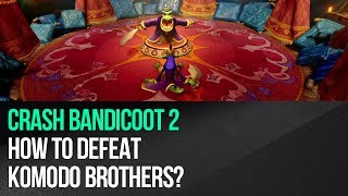 "This video shows how to defeat Komodo Brothers in ""Crash Bandicoot 2: Cortex Strikes Back"" for the PS4. This is an easy boss fight despite having to deal with two enemies. Ignore the komodo in the center of the battlefield and start observing his brother. Be prepared to attack him when he stops spinning so that the brothers will crash into each other and both lose 1 health. The brother from the center will now start throwing swords, but you just have to start running counter-clockwise. Stay behind his back and you won't get hit. Keep evading the attacks until the second brother starts spinning again. After that follow the same tactic. Make the brothers collide three times to defeat them.► MORE GAME GUIDEShttp://guides.gamepressure.com/► FOLLOW UShttps://twitter.com/gamepressurecomhttps://www.facebook.com/gamepressurecom"