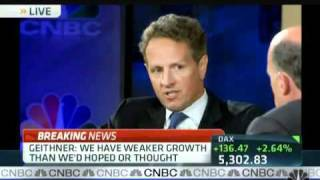 CNBC `s Jim Cramer talks with United States Secretary of the Treasury Timothy Franz Geithner about the global economy and...