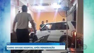 Bandidos em fuga perdem o controle e carro vai parar dentro de hospital em Itu