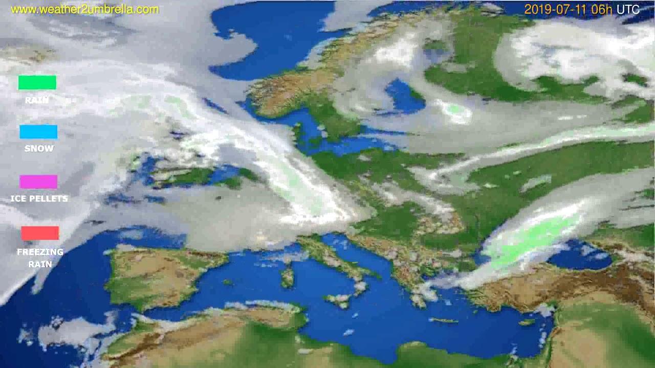 Precipitation forecast Europe // modelrun: 00h UTC 2019-07-09