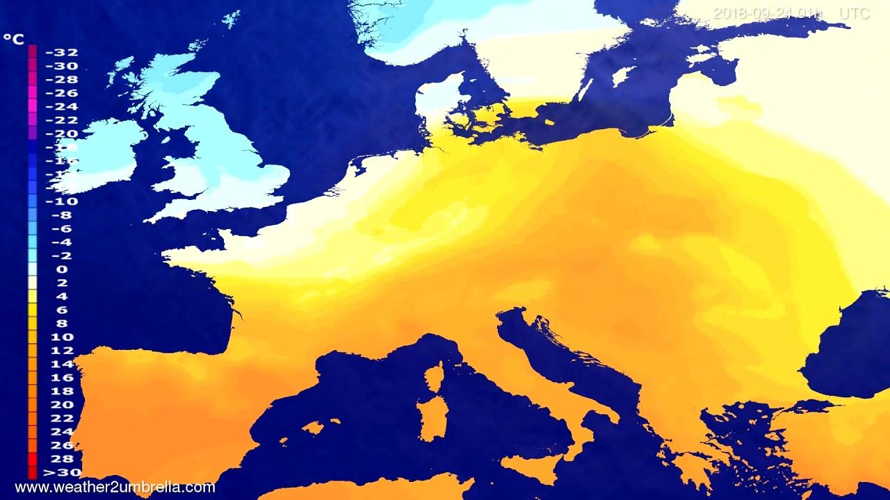 Temperature forecast Europe 2018-09-20