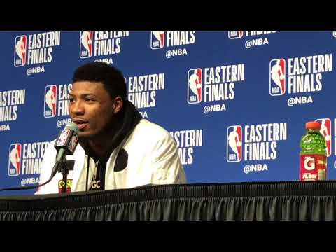 Marcus Smart on J.R.Smith's push of Al Horford: 'That's a dirty shot'