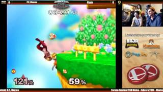 Weird up-throw, up-smash with Fox, on Dreamland, versus Sheik. Looks like a Ness yo-yo glitch. Any idea what happened here?