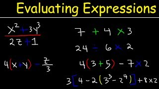 This Pre-Algebra video tutorial explains the process of evaluating expressions with variables, fractions, and exponents.  This video contains plenty of examples and practice problems.  Concepts taught include order of operations and pemdas.