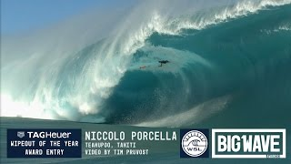 Niccolo Porcella (Sardegna, Italy) is depicted in a second angle as he falls off his board while dropping down the face and is then...