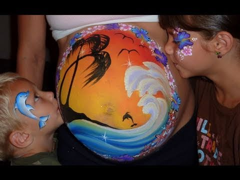 Pregnant Belly Painting – Tropical Island