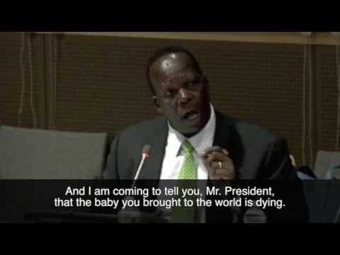 Simon Deng @ the UN. Help Southern Sudan! Dec. 9, 2016.