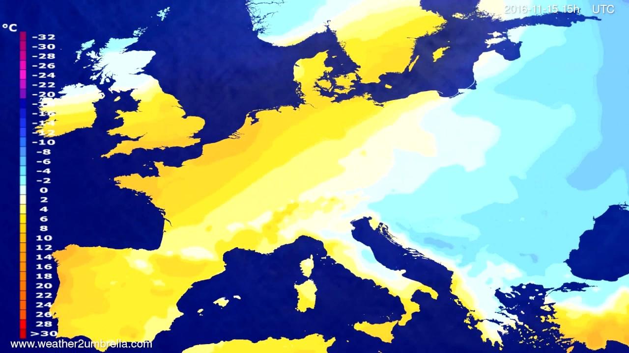 Temperature forecast Europe 2016-11-12