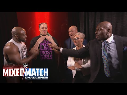 Kurt Angle teams a reluctant Nia Jax with Apollo Crews in WWE Mixed Match Challenge