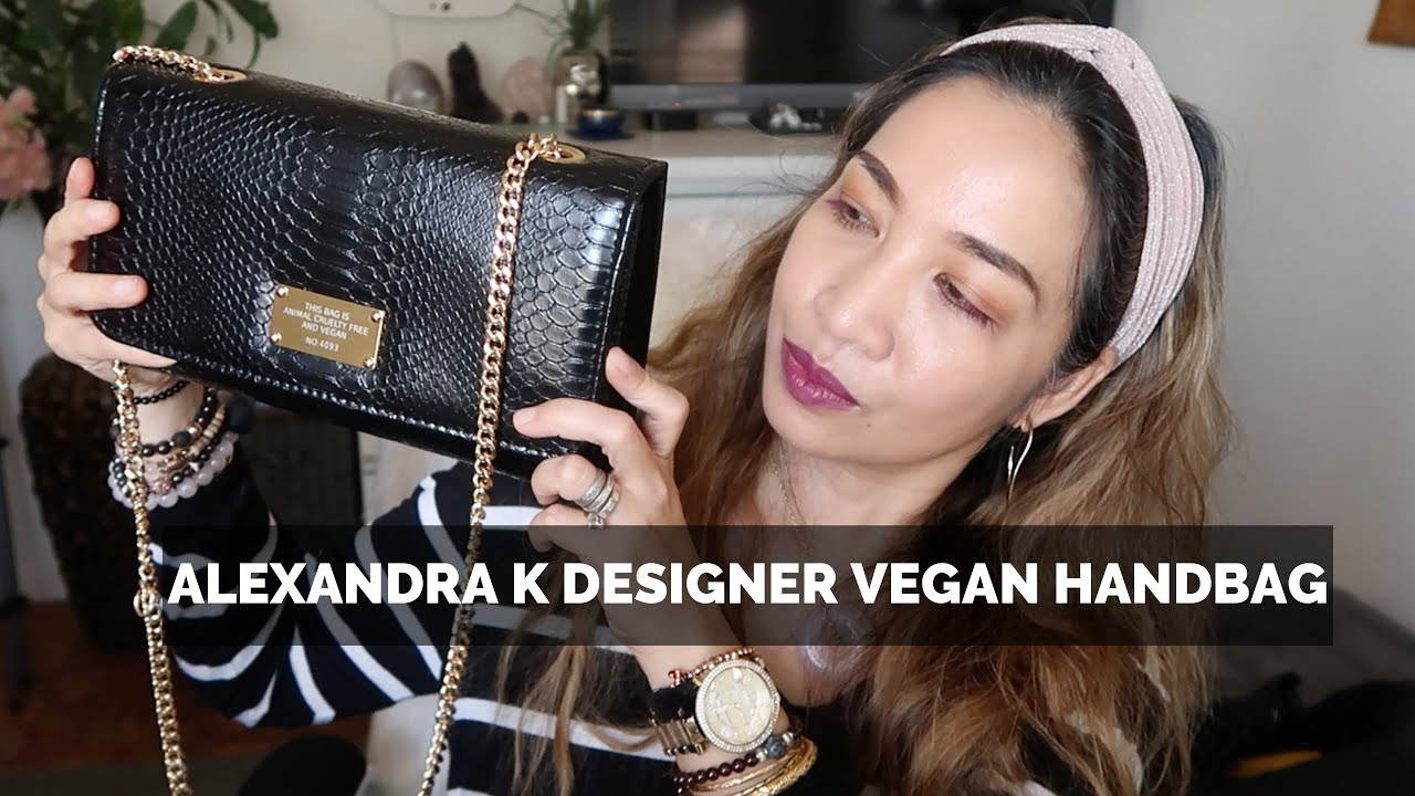 ALEXANDRA K Designer Vegan Leather 0 2 Handbag in Black Python |Thefabzilla