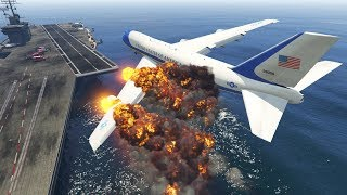 Dramatic Air Force One Plane Emergency Landing at Aircraft Carrier in GTA 5! (Two Engines Failed)