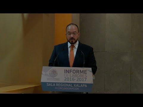 Rinde informe de labores el presidente de la Sala Regional Xalapa del TRIFE