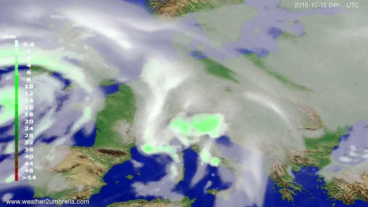 Precipitation forecast Europe 2016-10-11
