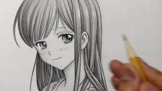 Drawing Time Lapse: Manga Girl with Long Hair