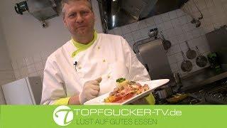 Gebratene Kalbswürfel | Kürbis-Fenchel-Apfelgemüse | Petersilien-Püree | Rote Bete Schaum | Rezeptempfehlung Topfgucker-TV