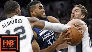 San Antonio Spurs vs Minnesota Timberwolves Full Game Highlights / March 17 / 2017-18 NBA Season