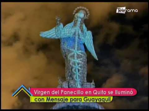 Virgen del Panecillo en Quito se iluminó con mensaje para Guayaquil