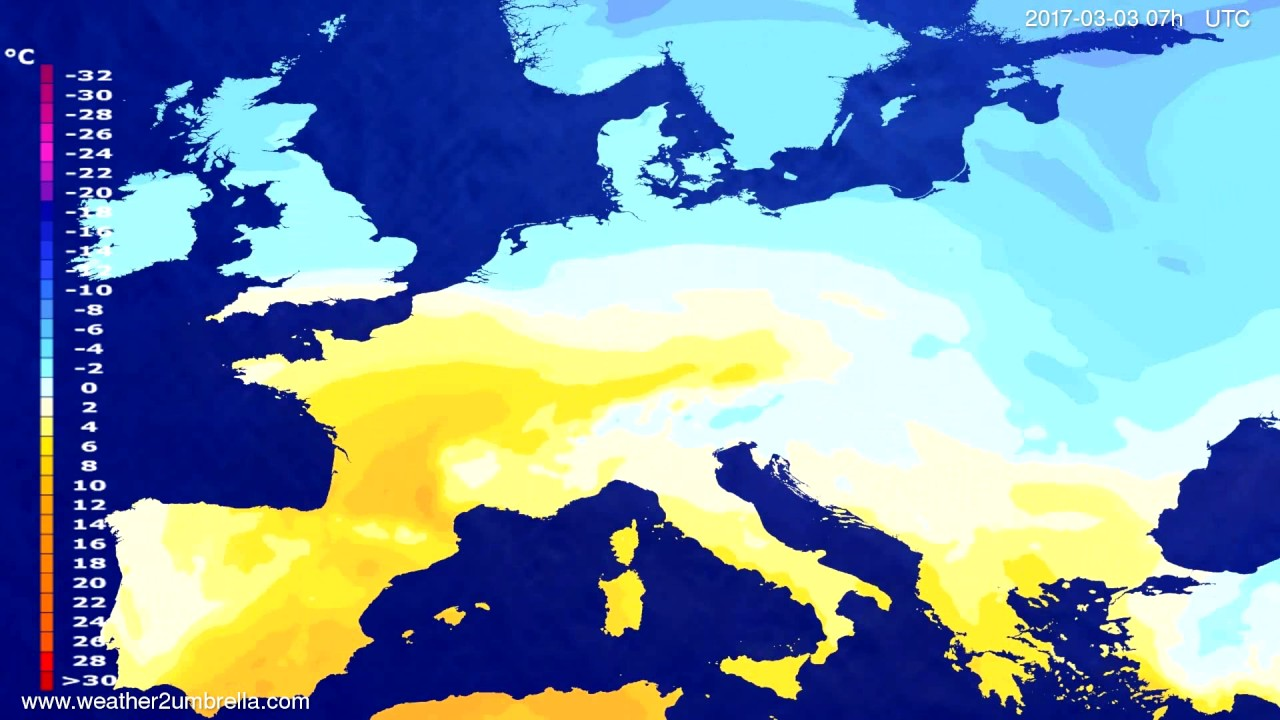 Temperature forecast Europe 2017-02-27
