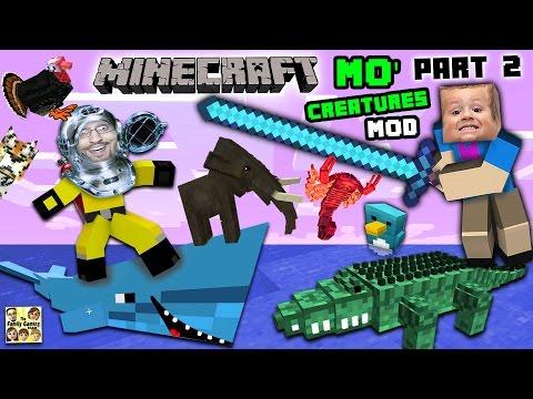 AQUARIUM ATTACK!! MO' CREATURES MOD Showcase #2: LAND CREATURES CRAZYNESS (FGTEEV Minecraft) (видео)
