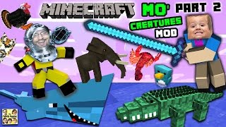AQUARIUM ATTACK!! MO' CREATURES MOD Showcase #2: LAND CREATURES CRAZYNESS (FGTEEV Minecraft)