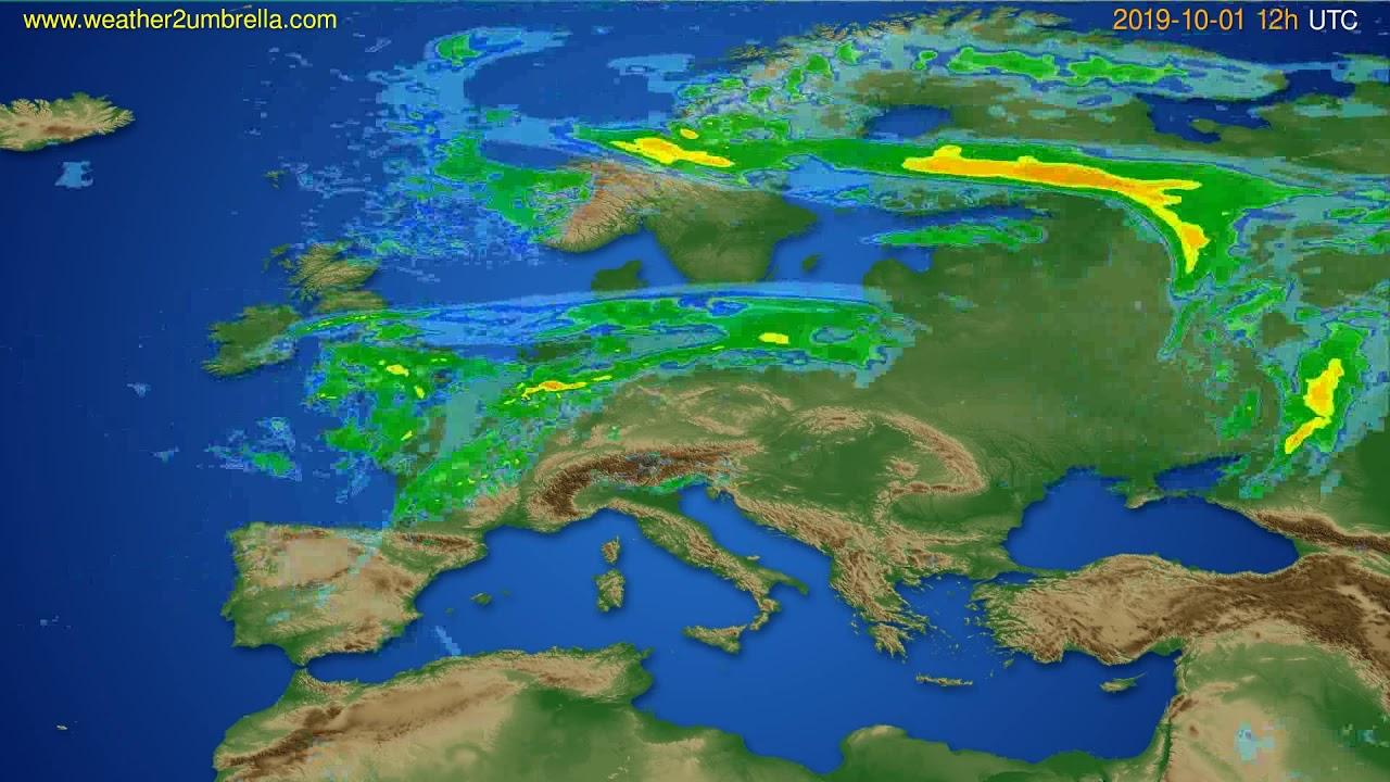 Radar forecast Europe // modelrun: 00h UTC 2019-10-01