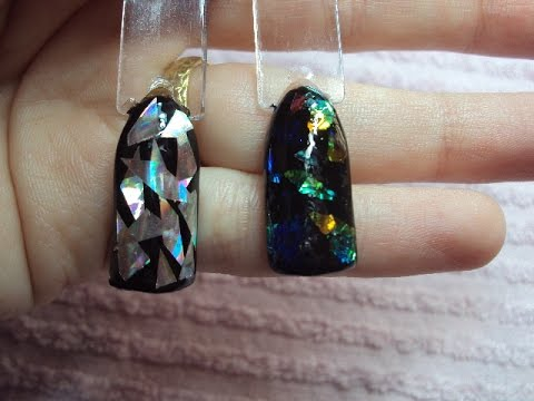 nail art effetto vetro con foil e madreperla