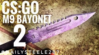 MAKING THE CS:GO M9 BAYONET: In this episode we mill out the details on the blade; the holes, grooves and sawtooth spine!
