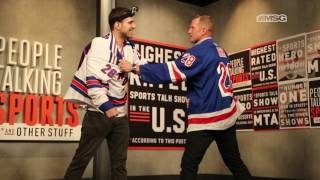 New York Ranger Colton Orr Teaches Comedian Sam Morril to Fight in Hockey   People Talking Sports*