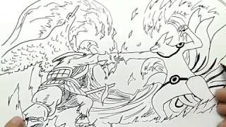 cara menggambar naruto kyubi kurama mode vs sasuke sussano mode / how to draw naruto vs sasuke