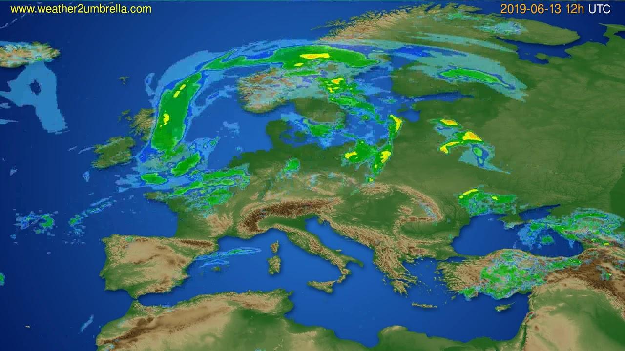 Radar forecast Europe // modelrun: 00h UTC 2019-06-13