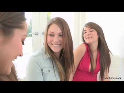Lesbian Threesome Sexy Kiss