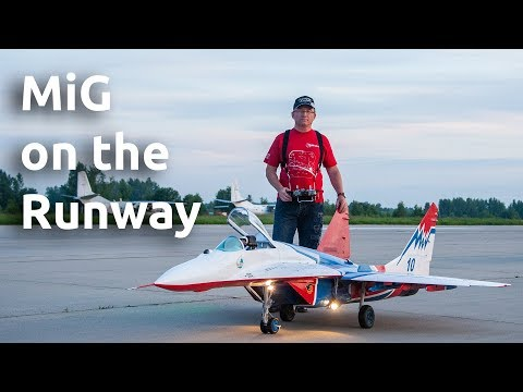 Giant Rc-model Of Mig-29 On The Runway