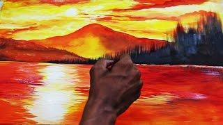 Download Lagu Sunset Landscape Watercolor Painting Time lapse Video Mp3