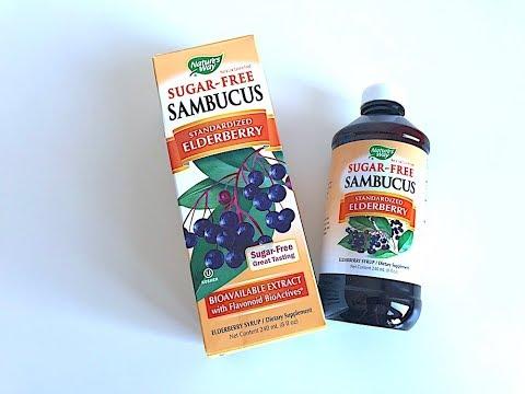 IHERB: Nature's Way, Sambucus, Standardized Elderberry, Sugar-Free (Сироп из Бузины) - Видео обзор