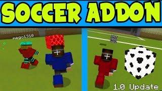 "Minecraft Pocket Edition ""SOCCER Mini-Game ADDON"" PE // SOCCER MCPE Addon Gameplay - MCPE 1.0 Update"