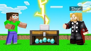 PRANKING My Friends With THOR'S HAMMER in MINECRAFT!