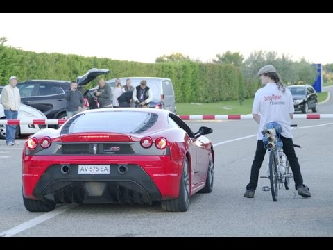 francois gissy in bicicletta a 333 km/h batte ferrari f430