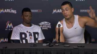 Dee Gordon, Giancarlo Stanton -- Miami Marlins press conference 09/26/2016