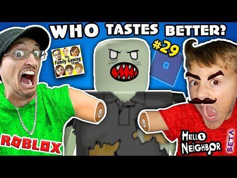 WHO TASTES BETTER? Roblox #29 ZOMBIE RUSH + Hello Neighbor BETA 1st Reaction  FGTEEV 2-in-1 Gameplay (видео)