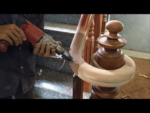 Amazing Curved Woodworking Project - How To Make a Curved Railing For Wood Stairs (Part 2)