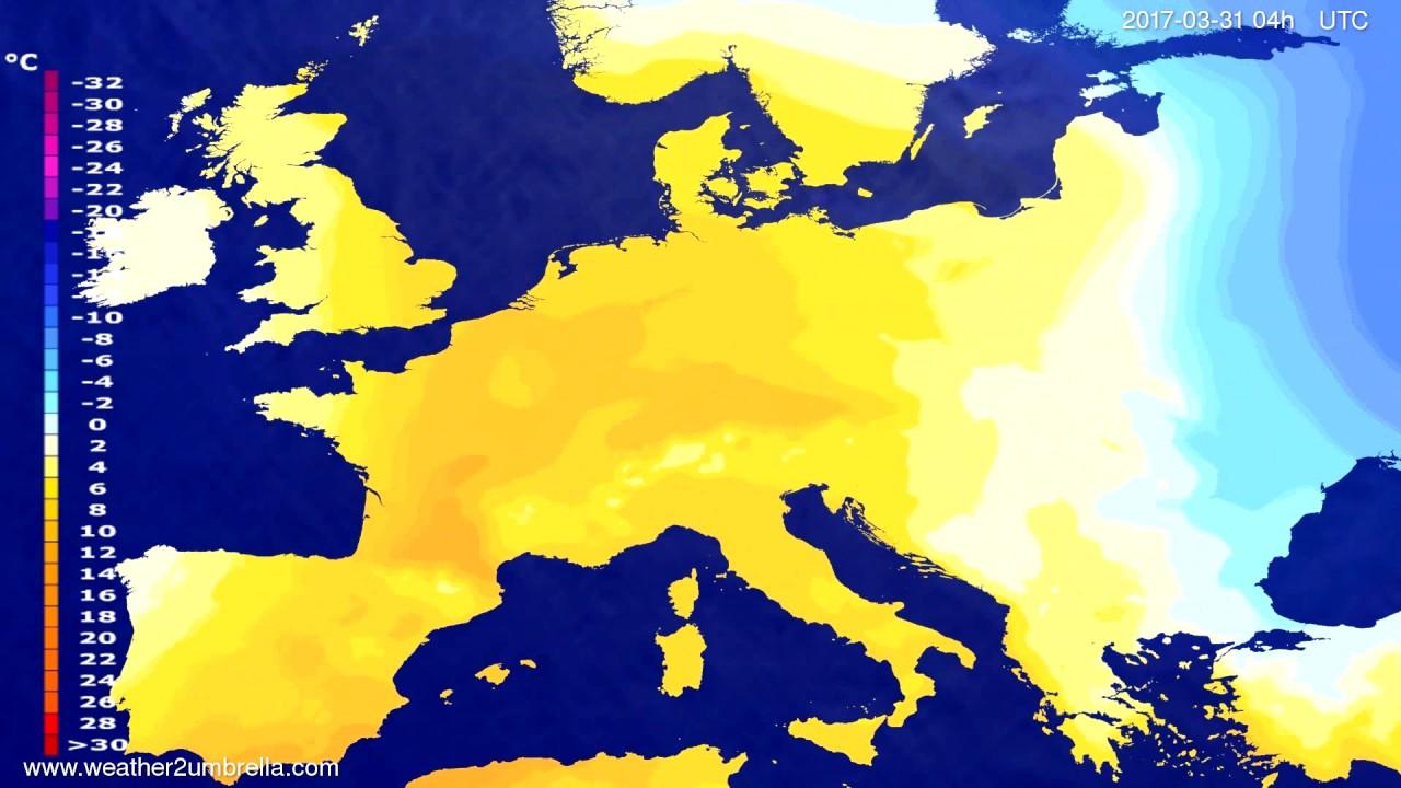 Temperature forecast Europe 2017-03-27